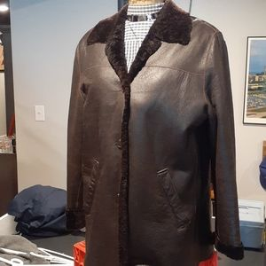 Marc New York Soft Leather Faux Fur Jacket Size L
